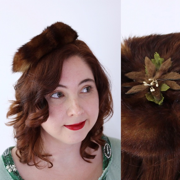 Vintage 50s Mink Fascinator Head Piece Hat Holiday